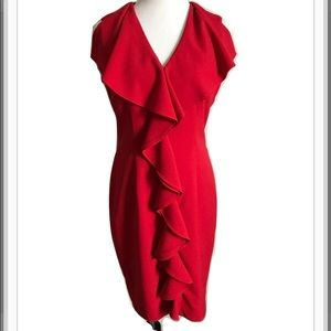 Calvin Klein Ruffled red Sheath dress
